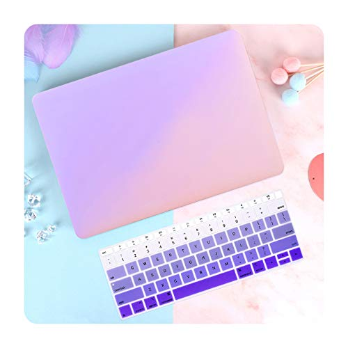 Gradient Plastic Hard Shell Laptop Case for Air Pro Retina 13 16 inch Touch ID 2020 A2251 A2338 A2179 A1932 A2337 Cover-Gradient Purple Logo-Pro 16 inch A2141