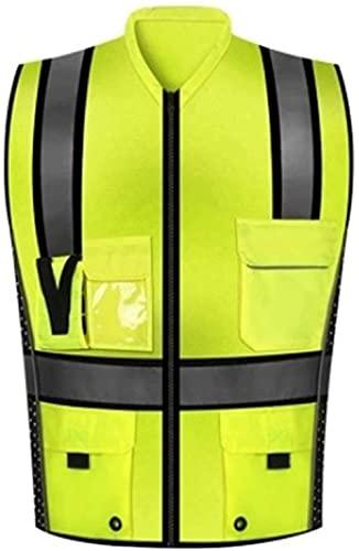 PATAWFFF Chaleco de Seguridad Chaleco Reflectante Alta Visibilidad Advertencia Chaleco Advertencia Chaleco múltiples Bolsas y Ropa de Seguridad de Desgaste de Trabajo (Color : Green, Size : M)