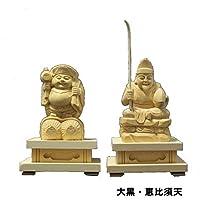 仏像大黒・恵比須天 木製品 木彫仏像 桧木 ヒノキ