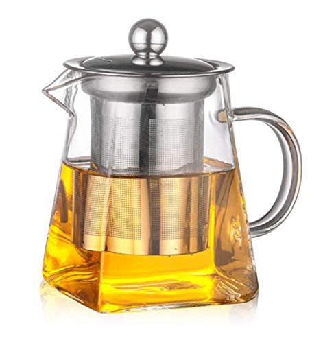 3Sizes Good Clear Borosilicate Glass Teapot With 304 Stainless Steel Infuser Strainer Heat Coffee Sqaure Tea Pot Tool Kettle Set