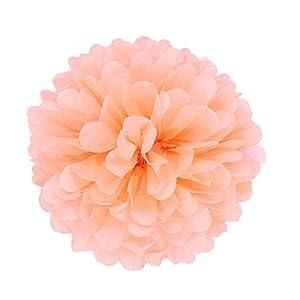 JZK® 10 x Flores de papeles pompones 25 cm para Boda Fiesta Halloween, Navidad Cumpleaños Flores del, pom pom pon pon…
