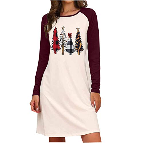 Womens Christmas Print Dresses Plus Size Party Dress Ugly Christmas Sweater Long Sleeve Skater Dress (Purple,X-Large)