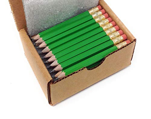 Half Pencils with Eraser - Golf, Classroom, Pew, Pocket -#2 Hexagon, Sharpened, (Box of 48). Color Choice: (Bright Green)