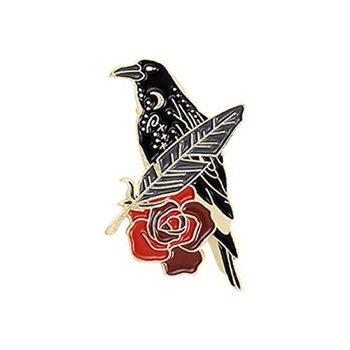 Broche unisex de cuervo negro con diseño de rosa y luna, para ropa, 3 unidades