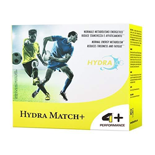 4+ NUTRITION - Hydra Match+, suplemento deportivo, hidratos de carbono y electrolitos, ayuda a recuperar la hidratación adecuada, sabor naranja, 20 sobres
