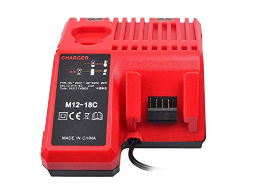 Repuesto M12-18C 3A Cargador para Milwaukee M12, M18, 48-59-1806, 48-59-1807, 48-59-1812, 48-59-1840, 2710-20 M12, 48-11-244 M12B2 M12B4, C12 B, C12 BX
