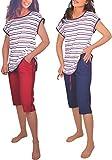 Damen Pyjama Schlafanzug 3er Set Baumwolle DF453 (40/42, blau/rot)