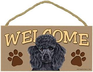 """SJT ENTERPRISES, INC. Poodle (Black) Welcome Sign 5"""" x 10"""" MDF Wood Plaque (SJT61555)"""
