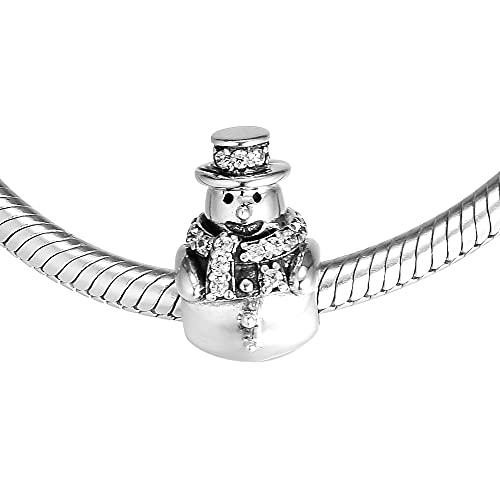 LILANG Pandora 925 Pulsera de joyería Natural se Adapta a Cuentas de muñeco de Nieve con circonita cúbica Transparente Encanto de Plata esterlina para Mujeres Regalos de Bricolaje