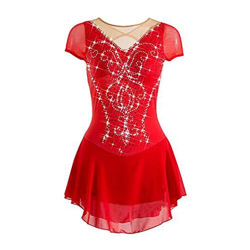 LWQ Eiskunstlauf-Kleid-Frauen-Mädchen Eislaufen Kleid Rot Hohe Elastizität Trainings Freizeit Sport Wettbewerb Skating Wear,L