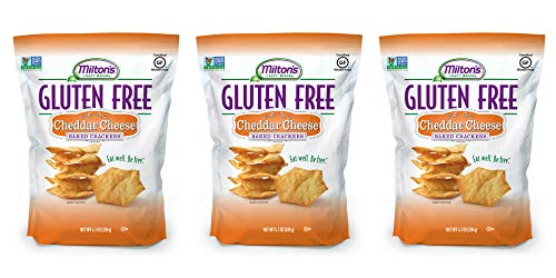 Milton's Gluten Free Baked Crackers - Cheddar Cheese. Crispy & Gluten-Free Baked Grain Crackers (Pack of 3, 4.5 oz).