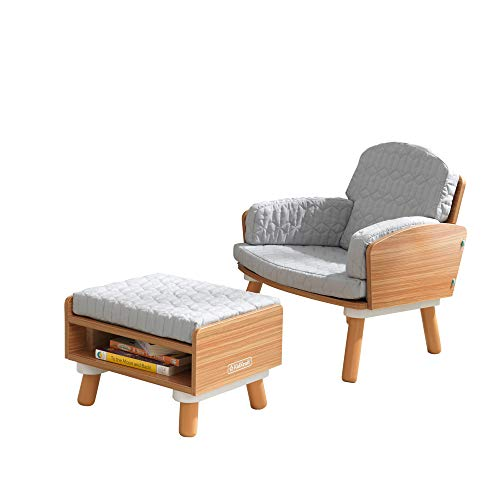 KidKraft Mid-Century Kid Upholstered Reading Chair & Ottoman with Storage, Furniture for Kids, Gift for Ages 3-6