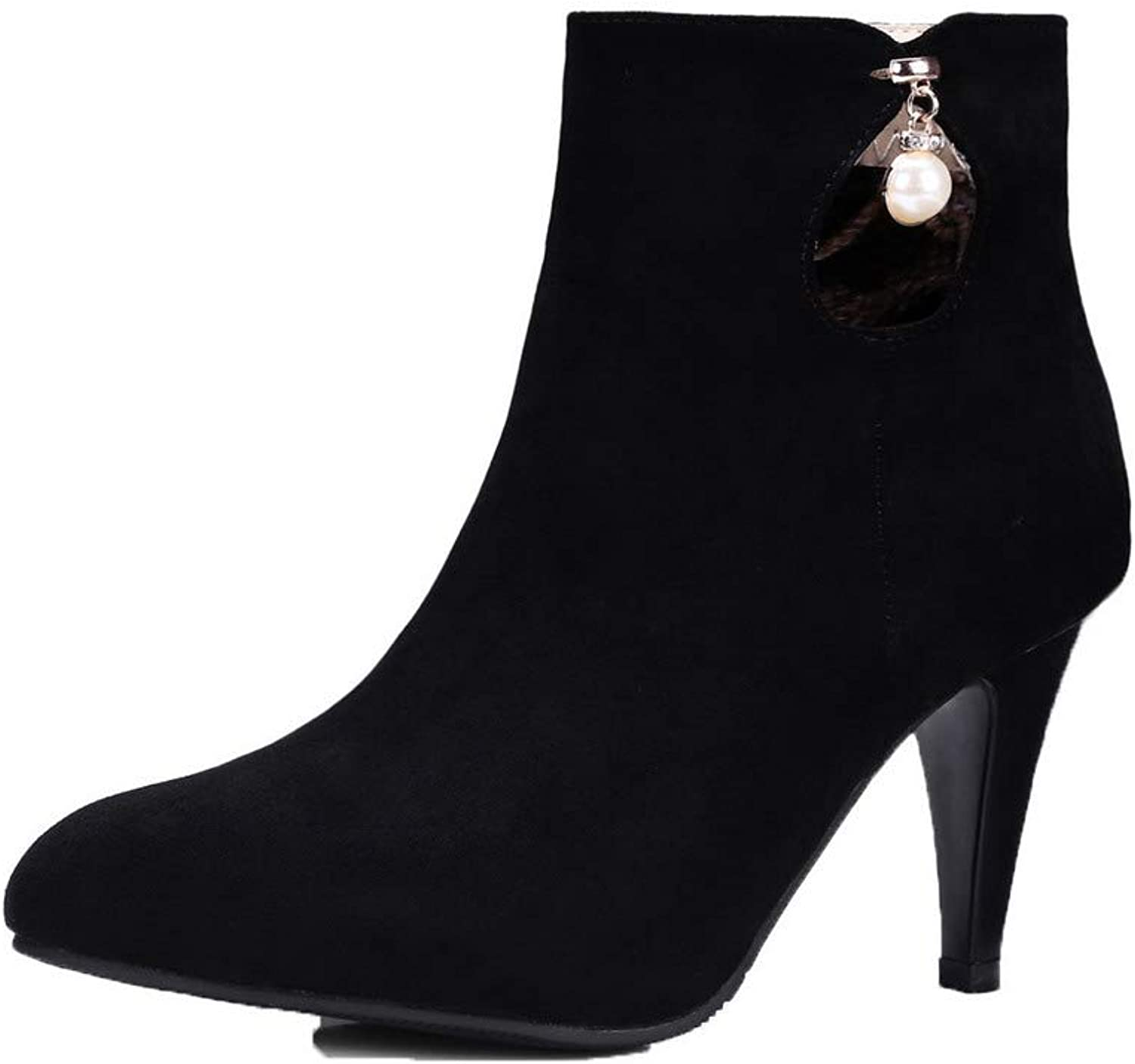 WeiPoot Women's Solid High-Heels Closed-Toe Imitated Suede Zipper Boots, EGHXH020638
