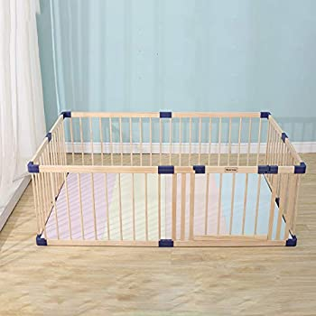 Bonrcea Baby Playpen Wooden Kids Play Fence with Door Baby Safety Play Center Yard Safe Play Area Indoor Kids Safety Activity Center Playard w/Locking Gate Outdoor  Natural Wood 70.86 x 78.74