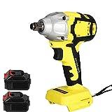 Llave impacto inalámbrica sin escobillas 1/2 ', destornillador de impacto 18 V, broca taladro inalámbrico 580 Nm, destornillador eléctrico 4000 rpm, interruptor continuo, luz trabajo LED,2 batteries
