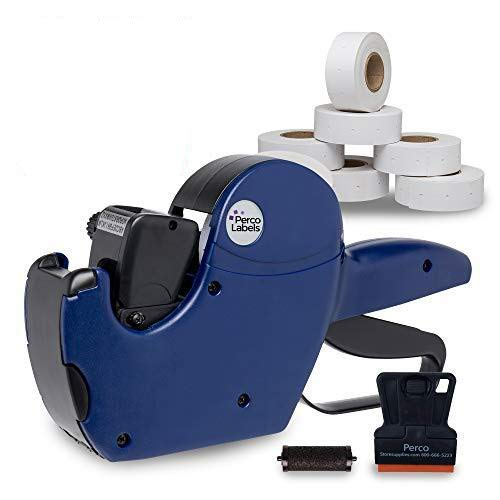 Perco 2 Line Price Gun: 8 Digit 2 Line Price Label Gun Preloaded with Roll of 750 White Labels & Inker