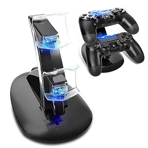 AMANKA Dual USB Dock Station Stand for Playstation 4 Sony PS4 Controller Black with LED light Indicators