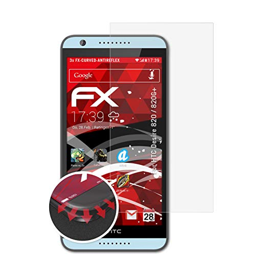 atFolix Schutzfolie kompatibel mit HTC Desire 820 / 820G+ Folie, entspiegelnde & Flexible FX Bildschirmschutzfolie (3X)