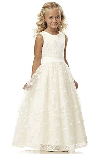 Babyonlinedress® Blumenmädchenkleider Prinzessin Hochzeit Partykleid Lang Spitzenkleid Festlich Kleid Brautjungfernkleid Elfenbein 10~11 Jahre