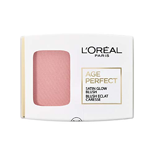 L'Oréal Paris Rouge Puder mit integriertem Spiegel und Pinsel, Für reife Haut, Age Perfect Satin Rouge, Nr. 101 - Rosa/Rosewood, 1 x 5 g