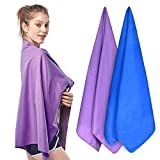 SUNLAND Microfiber Beach Towels Pool Towel(2 Pack,32inch x 63 Inch) Fast Drying Super Absorbent Travel Towel