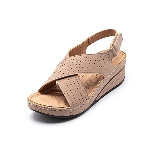 Sandalias de mujer de verano nuevo zapatos de mujer de las mujeres hueco hueco cuña con las mujeres casual cuero cómodo retro sandalias