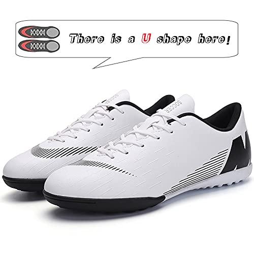 Topwolve Zapatillas de Fútbol Hombre Atletismo Training Botas de Fútbol Profesionales Aire Libre Zapatillas de Deporte de Fútbol para Niños Blanco 41 EU