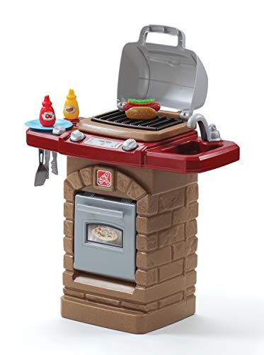 Step2 Fixin' Fun Outdoor Grill | Plastic Toy Grill & Play Food | Pretend Play Grilling Set, Brown (85317)