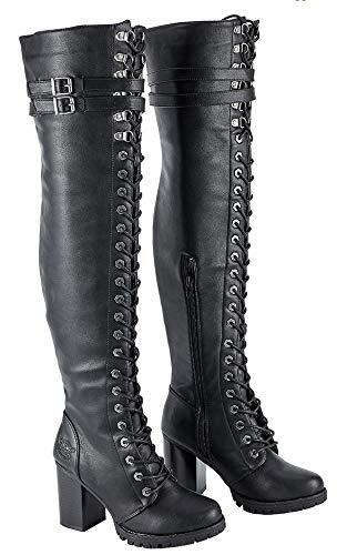 Motorcycle Ladies High Knee Fully Laced Long Harley Side Zipper Biker Boot Blk PVC (8)