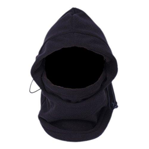 EOZY Un 6 En 1 Masque Cagoule Tour de Cou Chapeau Multifonction Noir Balaclava en Polyester pour Temps Froid Ski Outdoor Moto Montagne Camping Randonnée