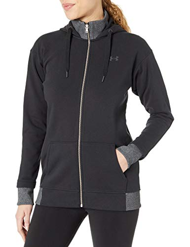 Under Armour Damen Threadborne Fleece Full Zip Hoodie, Damen, Schwarz (001)/Tonal, Small
