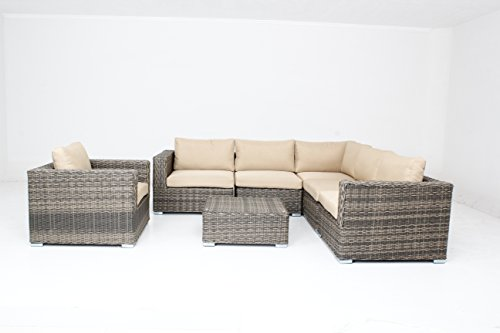 husen Outdoor Patio Furniture Sofa Sectional Wicker Round Resin Couch Set (t063-1h)