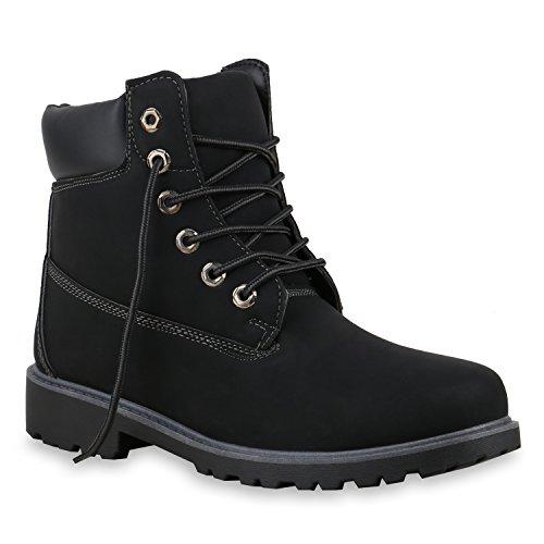 Worker Boots Warm Gefütterte Damen Herren Stiefeletten Knöchelhohe Stiefel Zipper Kunstfell SchnürerOutdoor Schuhe 124552 Schwarz 37 Flandell