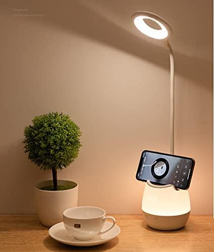 JanPraci Lámpara Escritorio LED, Flexo LED Escritorio con Panel Táctil, 3 Niveles de Brillo y 5 Colores de Luces(Luz Nocturna), Recargable USB Cuidado Ocular Lámpara para Estudiar (Blanco)