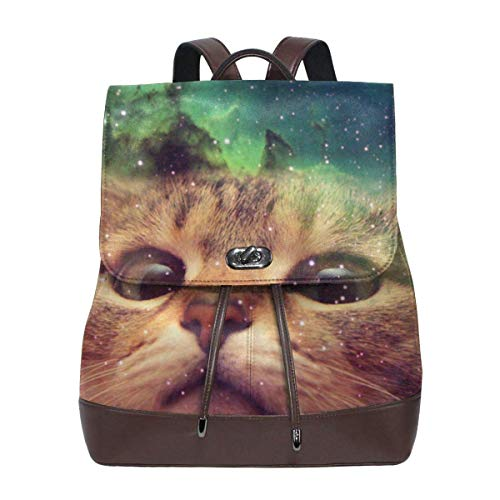 Fun Life Art Space Cat Kitty Dog Leather Laptop Backpack Travel Backpack Diaper Bag Doctor Bag School Backpack For Women Casual Daypack Laptop Bag
