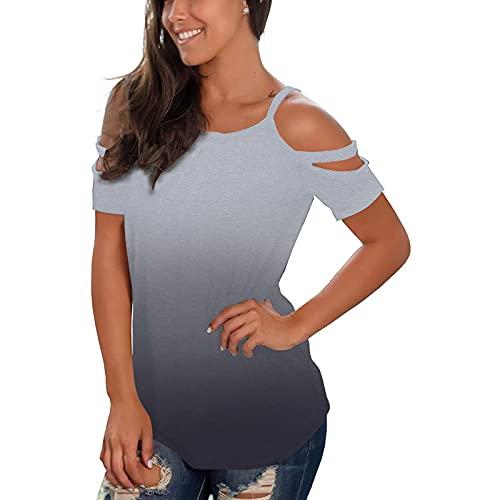Camiseta de manga corta para mujer, elegante, de verano, con hombros descubiertos, sexy, elegante, cómoda, de manga corta, básica, ajustada, informal, cuello en V, para adolescentes y niñas