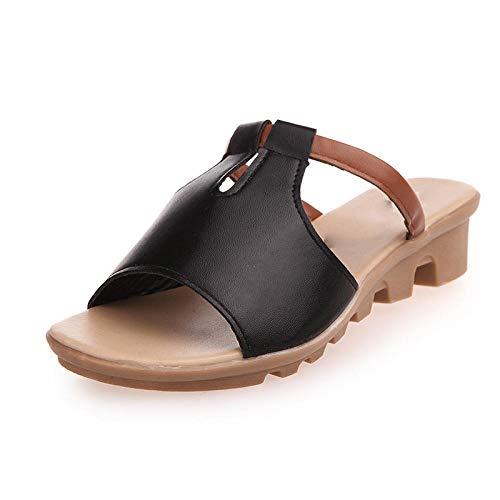FAYHRH Zapatillas de Ducha para Mujeres,Sandalias y Zapatillas de Verano, Conjunto de Ocio para Mujer, Playa con Punta, talón Inclinado Antideslizante-Negro_35