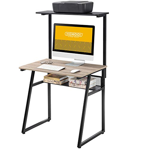 HOMOOI Computer Desk Wood Oak and Black with Storage Adjustable Writing Table Workstation for Home Office 80x52.5x(123-133) cm HNCD00151