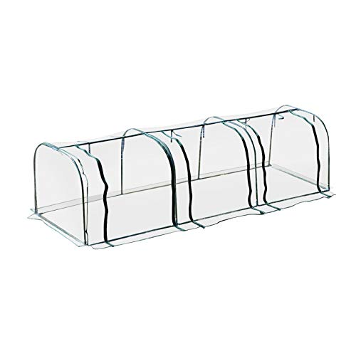 Outsunny Portable Mini Cloche Greenhouse with Zipper Doors, 11.5' L x 3' W x 2.5' H, Waterproof UV Protected Cover