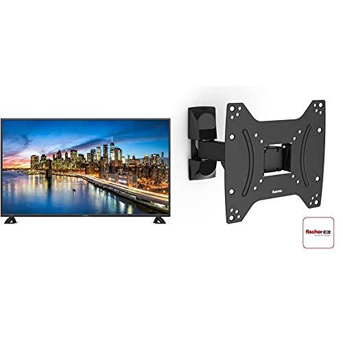 DYON Live 43 Pro 108 cm (43 Zoll) Fernseher & Hama TV-Wandhalterung und Monitorhalterung (vollbeweglich für Fernseher, Monitor von 19-48 Zoll, inkl Fischer Dübel, VESA bis 200x200) schwarz
