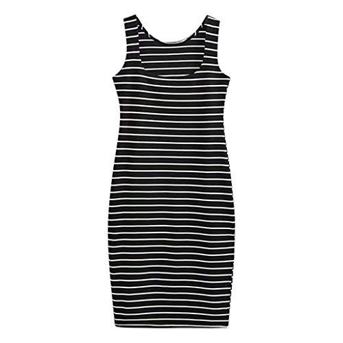 Deelin 2020 dames zomerjurk, sexy, mouwloos, vierkant, gestreept, tank-top, met sleuven, zijdelingse figuurbenadrukt, mini-jurk, kort