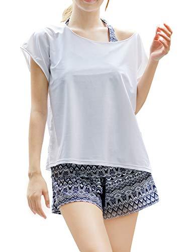 【ARMOTO】水着 レディース 体型カバー タンキニ カバーアップ 4点セット オーバーTシャツ ショートパンツ