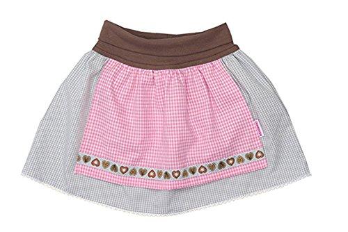 Mädchen Trachtenrock Baby mit angenähter Schürze grau/rosa (62/68, grau)