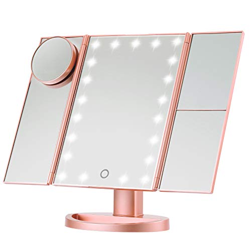 Magicfly Vanity Mirror Lighted Makeup Mirror 10X 3X 2X 1X Magnifying Mirror with 21 LED Lights, Trifold Mirror with Touch Screen, Adjustable Brightness & Stand, Dual Power Supply Mode, Rose Gold