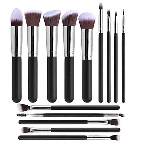 DMDMJY Maquillage De Maquillage Fondation De Maquillage BLUSHADOW Kabuki Mix Mix Main Pinceau Beauty Outils 14 MAINSTUM,Silver Shiny