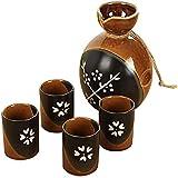 Juego de Sake, Juego de 5 Piezas de Sake, Juego de Tazas de Sake japonés, Tazas de cerámica con Textura de Esmalte Blanco, Copas de Vino artesanales, para frío/Calor/Shochu/té