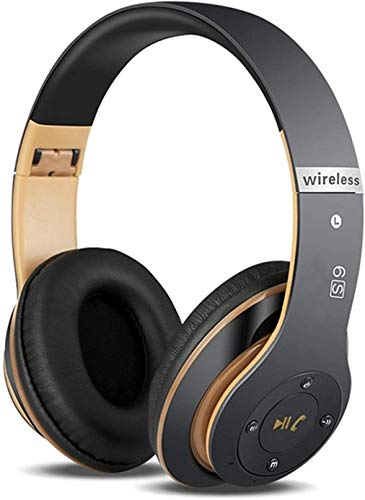 6S Wireless Headphones Over Ear,Hi-Fi Stereo Foldable Wireless Stereo Headsets Earbuds with Built-in Mic,Volume Control, FM for iPhone/Samsung/iPad/PC/TV (Black & Gold)