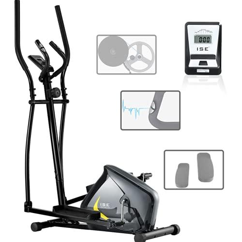 ISE Bicicleta Elíptica de Fitness para Casa con Sensor de Pulso, 8 Niveles de Resistencia de Volante de Inercia, LCD Pantalla, Ajustable Máquina Elíptica de Gimnasio Ejercicio, Máx.110kg, SY-9802