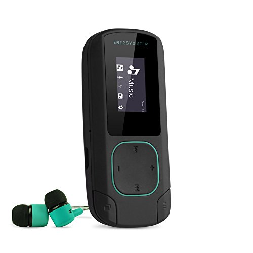 Energy Sistem MP3 Clip Bluetooth (Reproductor MP3 con Pantalla, Bluetooth, 8GB, Clip de Enganche, Radio FM y Lector de Tarjeta microSD) - Verde Mint