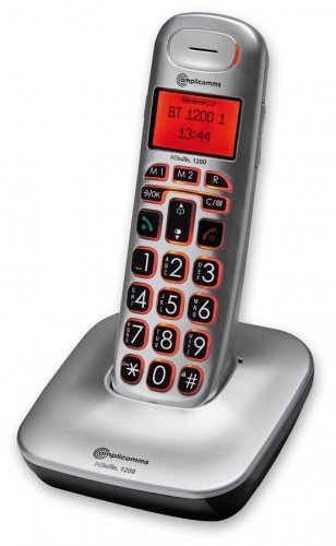 amplicomms BigTel 1200 Telefono DECT Nero, Argento Identificatore di chiamata